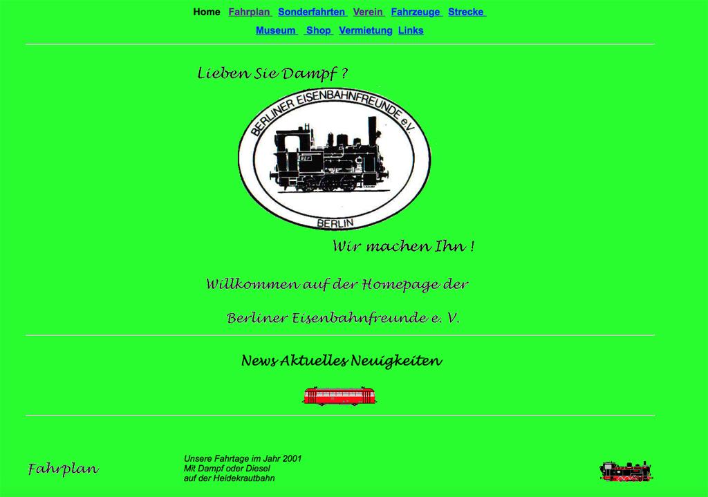 Unsere erste Homepage im Jahre 2001