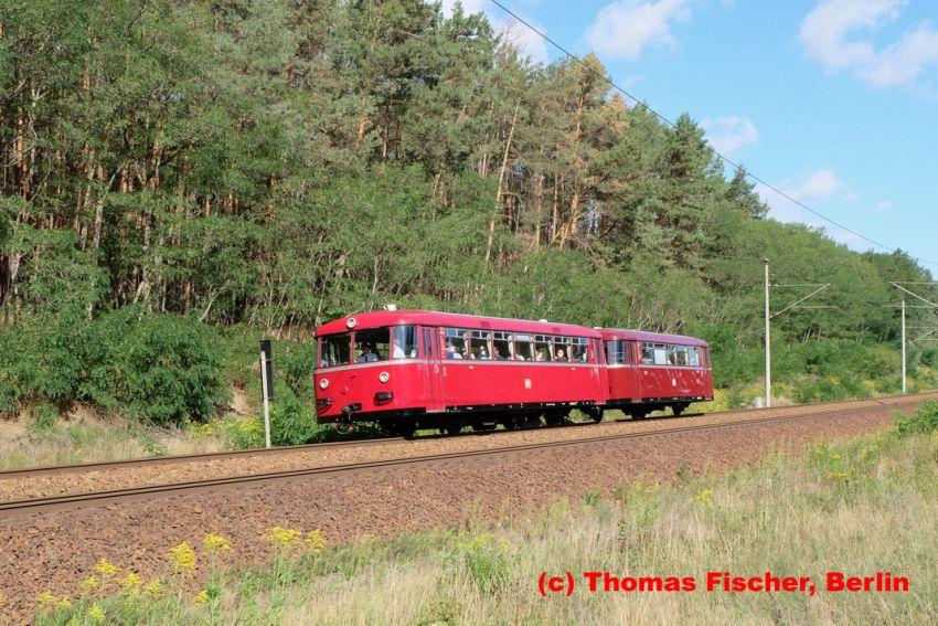 Schienenbusgarnitur VT95/VB142 der Berliner Eisenbahnfreunde am 6.9.2020 nahe Thyrow