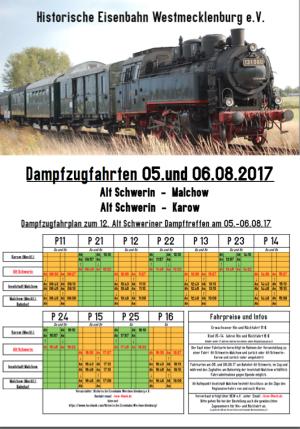 Plakat Dampfzugfahrten Alt Schwerin - hier klicken, um das PDF herunterzuladen