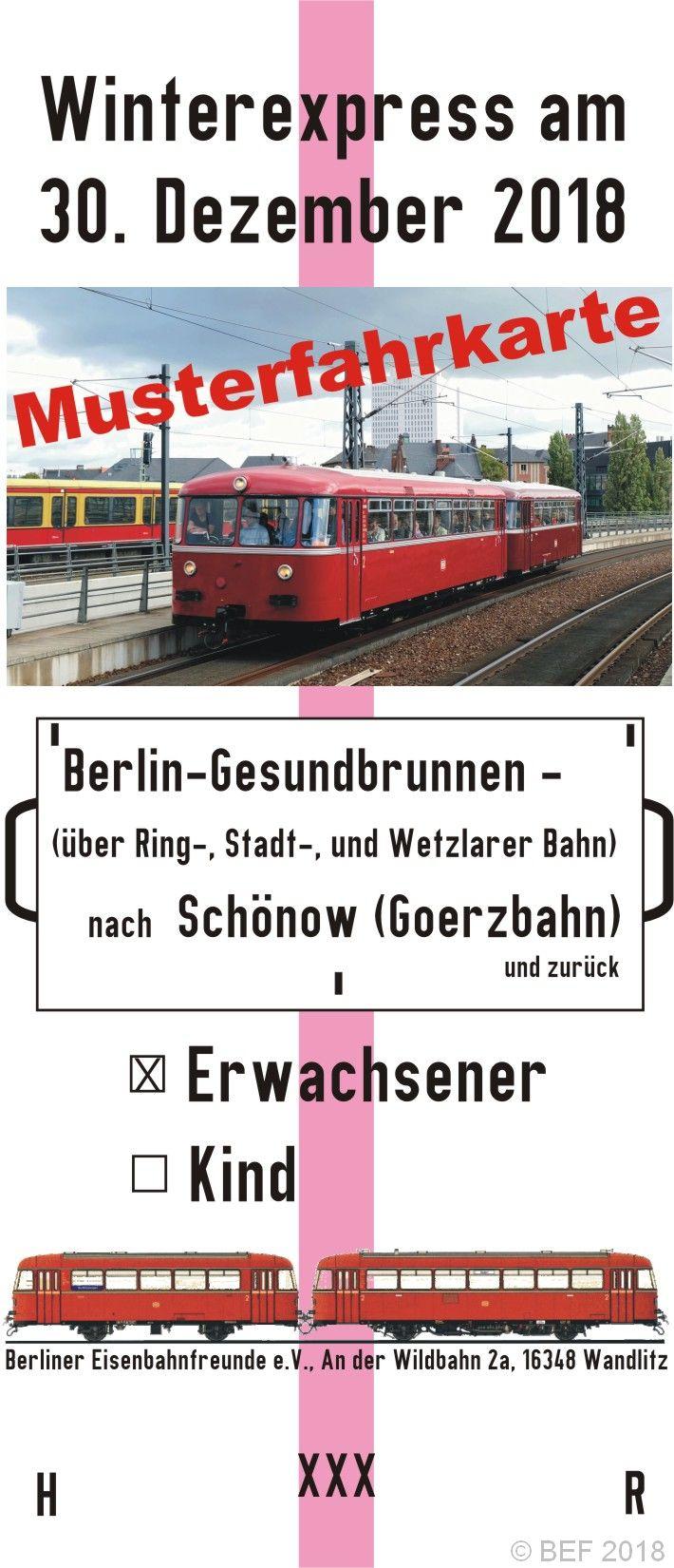 Musterfahrkarte Winterexpress 2018 der Berliner Eisenbahnfreunde e.V.