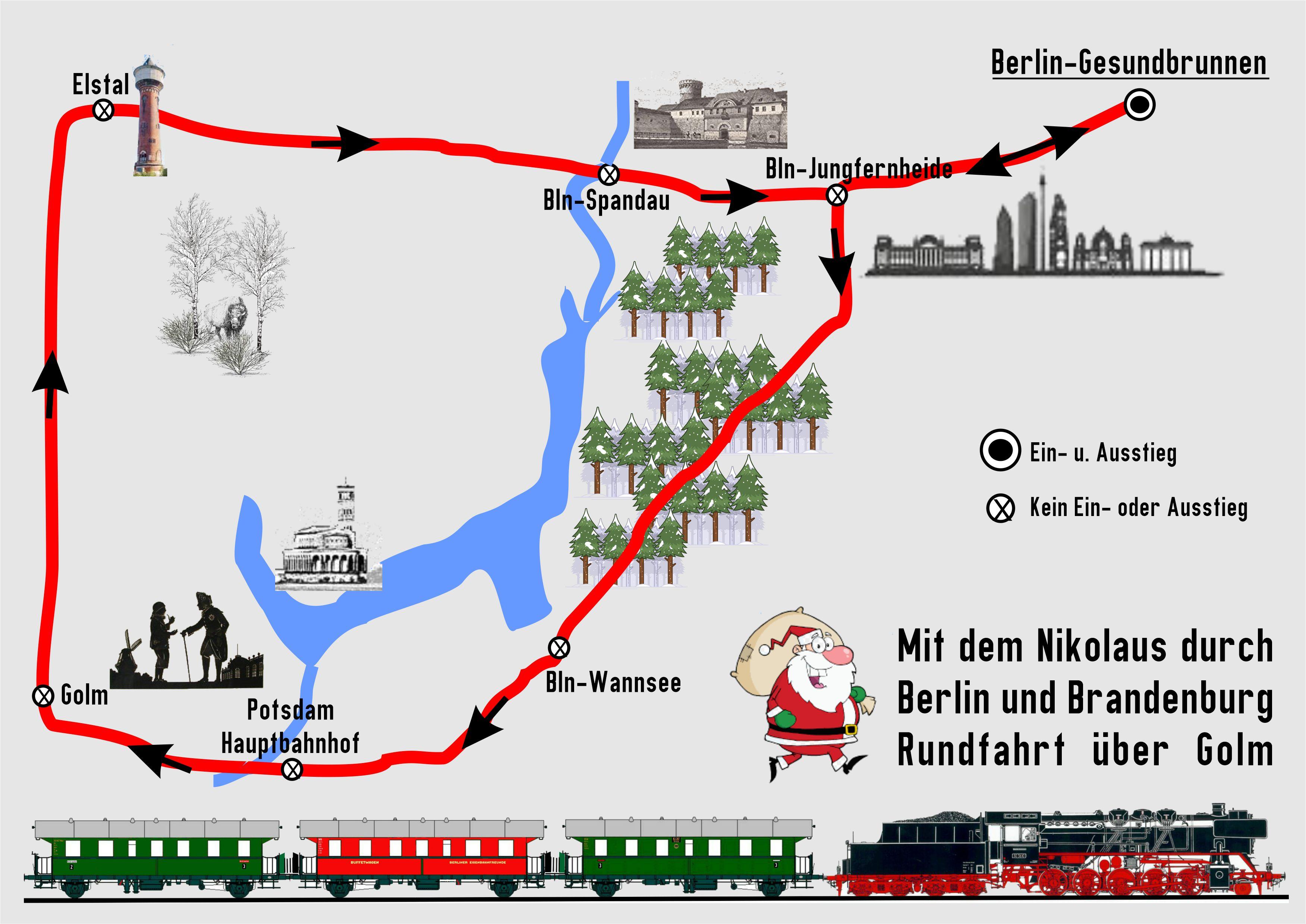 BEF Streckenkarte Adventsfahrten 2020 über Potsdam und westl. Aussenring
