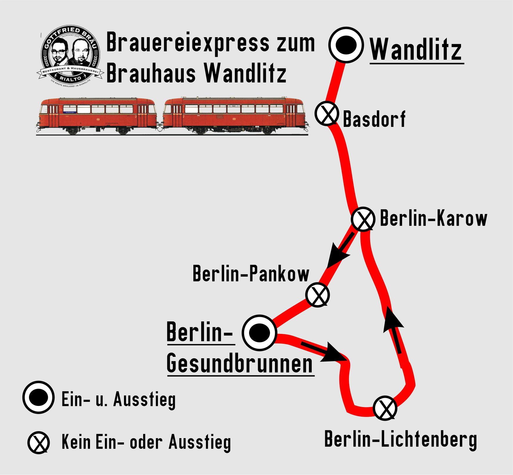 BEF Brauhausfahrt Streckenkarte Berlin-Gesundbrunnen - Wandlitz