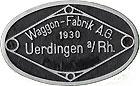 Hersteller-Schild Waggon-Fabrik Uerdingen