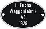 Hersteller-Schild Waggon-Fabrik Fuchs
