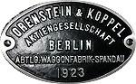 Hersteller-Schild Orenstein & Koppel