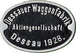 Hersteller-Schild Dessauer Waggonfabrik