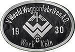 Hersteller-Schild VWW Köln
